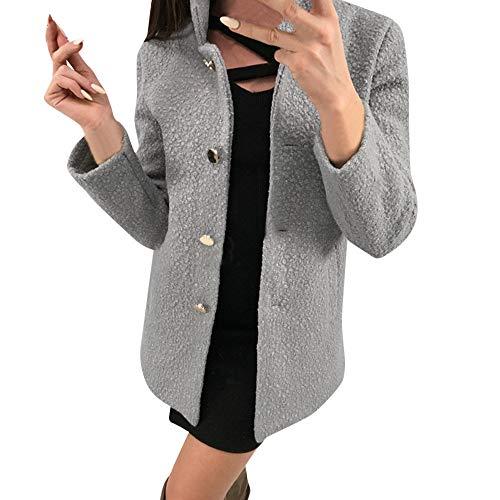Poche Outwear Simple Duveteux Veste Femmes Solide Entaillé Lianmengmvp Boutonnage Gris Hiver Avec Manteau ZzUYxnv