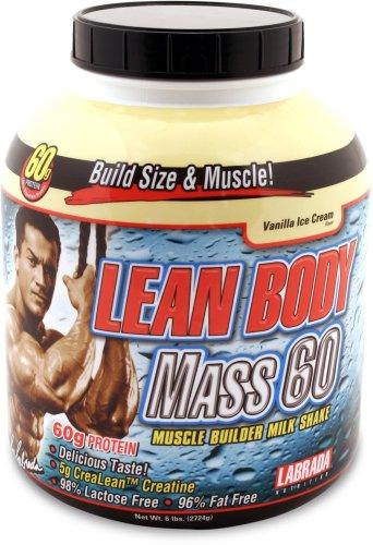Nutrition Labrada Lean Body Mass 60 des protéines du muscle Builder poudre, la crème glacée à la vanille, 6 livres-Tub