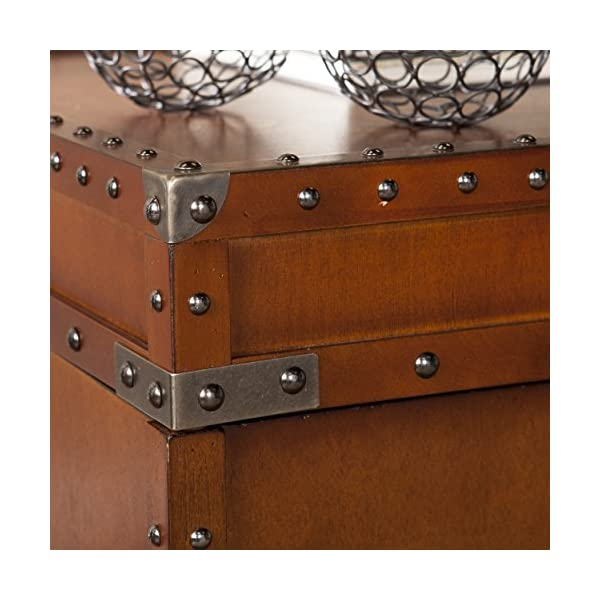 SEI Furniture Steamer Trunk End Table - Rustic Nailhead Trim - Refinded Industrial Style