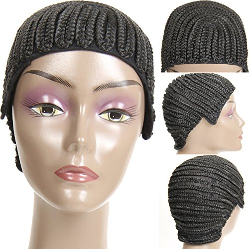 VRHOT (3Pcs/Lot) Braided Wig Cap Cornrow Crochet Weaving Wig Cap for Making Wigs with Combs Synthetic Weave Hair Nets Sew in Adjustable Straps Elastic Net Breathable (3pcs/lot Cornrow Cap) by VRHOT