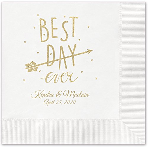 Best Day Ever Arrow Personalized Beverage Cocktail Napkins - 100 Custom Printed White Paper Napkins with choice of foil by Canopy Street