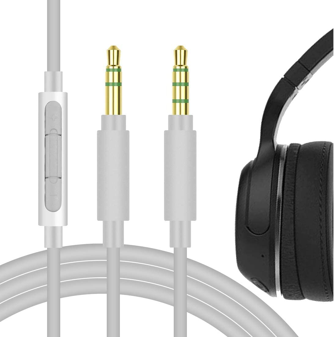 Geekria QuickFit Audio Cable with Mic Compatible with Sküllcandy Crusher, Crusher Wireless, Venue, Grind, Hesh 3 Headphones Cable, 3.5mm Replacement Stereo Cord with Microphone (Grey 5.6FT)