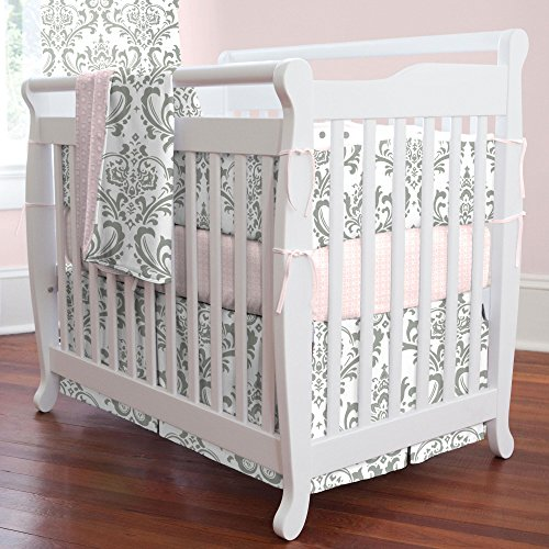 Portable Crib Skirt Box - Carousel Designs Gray Traditions Damask Mini Crib Skirt Box Pleat