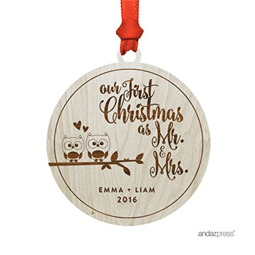 (Andaz Press Personalized Laser Engraved Wood Christmas Ornament with Gift Bag, Bride & Groom Love Owls Our First Christmas as Mr. & Mrs, Round Shape, 2019, Custom Name, 1-Pack )