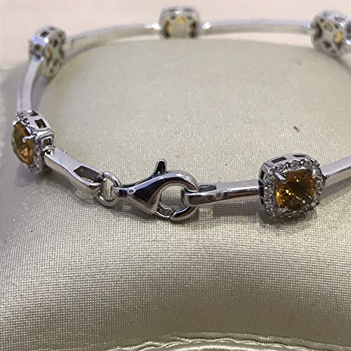 Solid white gold with genuine halo design natural cushion cut citrines and diamond line bracelet