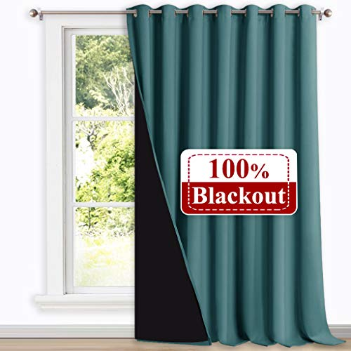 NICETOWN 100% Black-Out Patio Sliding Door Curtain, Wide Lined Drape, Keep Warm Drapery, Sliding Glass Door Panel for Night Shift(Sea Teal, 1 Panel, 100 inches Wide x 108 inches Long (Curtains Lined Teal)