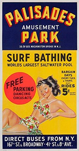 USA - Palisades Amusement Park - Vintage Advertisement (12x18 Fine Art Print, Home Wall Decor Artwork ()