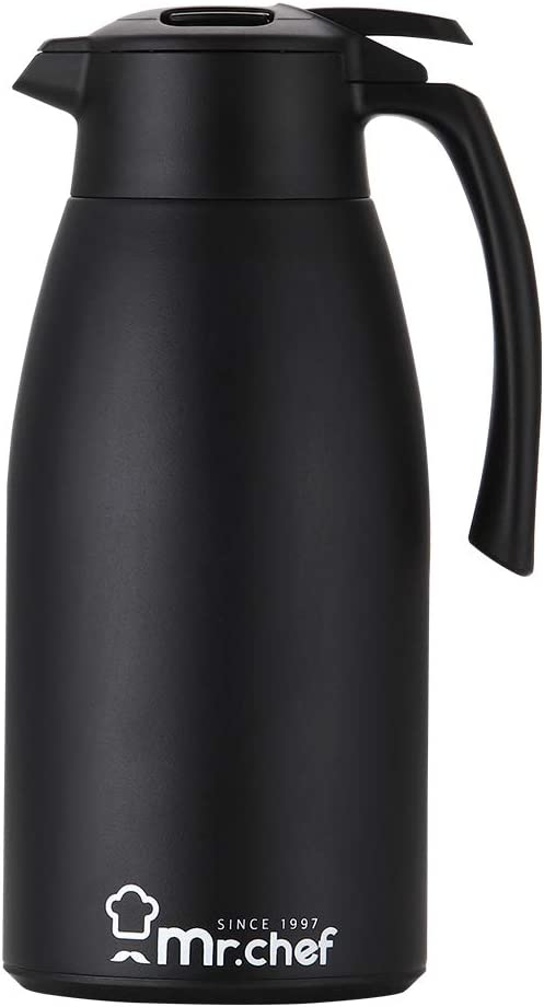 68oz Premium Stainless Steel Thermal Coffee Carafe Double Walled Vacuum Thermos 24 Hour Heat 12 Hour Cool Retention 2 Liter Tea, water and Coffee Dispenser, Steel and Sponge Brush Included by Mr. Chef