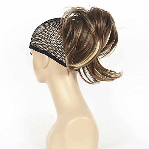 Lydell Adjustable Messy Style Ponytail Hair Extension Synthetic Hair-Piece with Jaw Claw Amzing Shape For You (12TT26 Brown Highlighted)