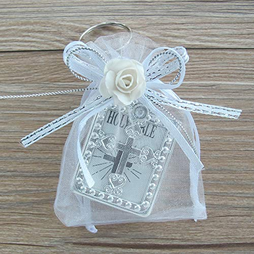 12 PCS First Holy Communion Party Favor Bible Key Ring with Decorated Gift Bags Silver