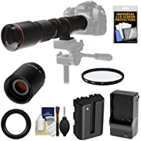 Vivitar 500mm f/8.0 Telephoto Lens with 2x Teleconverter (=1000mm) + NP-FM500H Battery & Charger + Filter + Accessory Kit for SLT-A57, A58, A65, A77, A99 DSLR Cameras