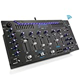 Pyle 6 Channel Mixer, Bluetooth DJ Controller, Stereo Mixer, Professional Sound System, LED Illumination, Mixer Digital Audio, Digital Mixing System, Speed Control, 5U Rack Mount System (PYD1964B)