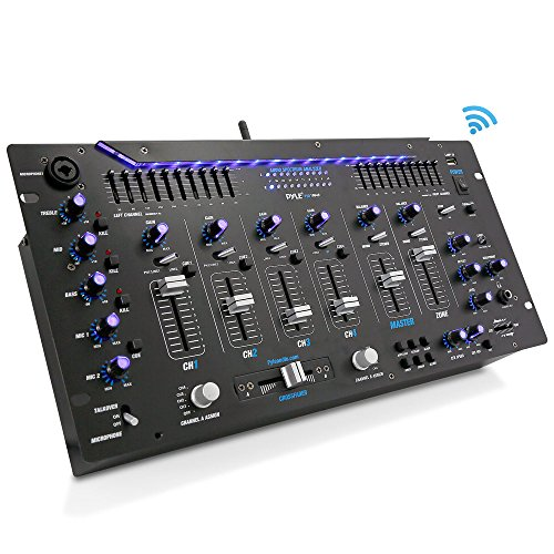 Pyle 6 Channel Mixer, Bluetooth DJ Controller, Stereo Mixer, Professional Sound System, LED Illumination, Mixer Digital Audio, Digital Mixing System, Speed Control, 5U Rack Mount System (Unique Software Systems)
