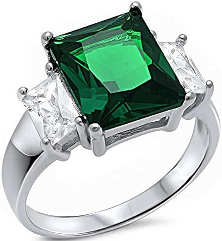 Radiant Cut Simulated Green Emerald & Baguette Cubic Zirconia .925 Sterling Silver Ring Sizes 5-10