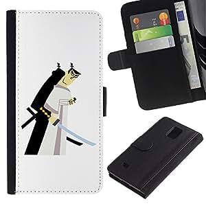 Paccase / Billetera de Cuero Caso del tirón Titular de la tarjeta Carcasa Funda para - samurai swordsman Japanese white - Samsung Galaxy Note 4 SM-N910