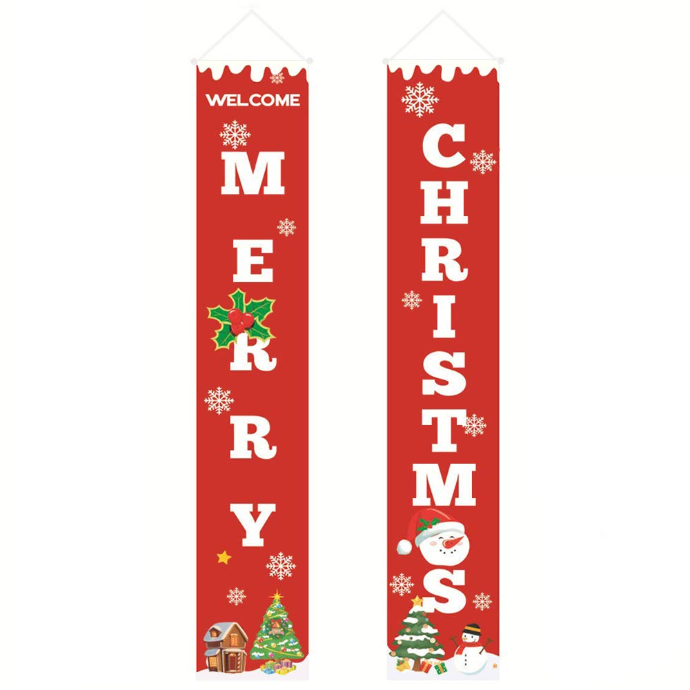 sunvito Merry Christmas Banner,Christmas Porch Sign Decoration Outdoor Indoor, Hanging Red Xmas Decorations Banners for Home Wall Front Door Apartment Party