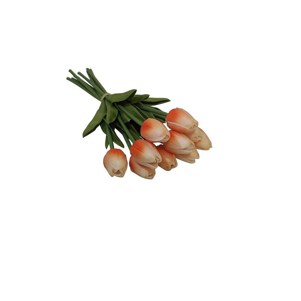 MARJON 花 10本 造花 チューリップ リアルタッチ アレンジメント ブーケ 自宅 部屋 オフィス パーティー ウェディング 装飾 母の日 ギフトに最適 (10個、オレンジ) B07NJSZTPT