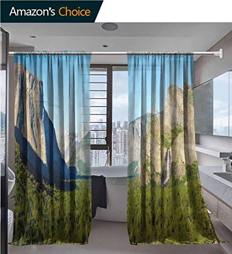 Home 2 Panels Window Sheer Curtains, Background Blue and Orange Geometric Print Design Printing, Voile Panels for Bedroom Living Room, Rod Pocket Curtains, 54 x 72 Inch/Panel (Chambray Voile Rod Pocket)