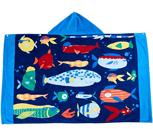 Wowelife Fish Hooded Towel Kids Beach Towel Upgraded for Bath, Pool and Beach, 100% Cotton 30 x 50 inch Extended Length for Boys and Girls, Fits 4-12 Years Old or -