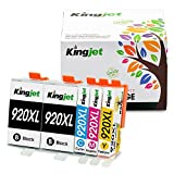 Kingjet 920XL Ink Cartridges 5 Pack High Yield Replacements Compatible with Officejet 6000 6500 6500A 7000 7500 Series Printer (2Black 1Cyan 1Magenta 1Yellow)