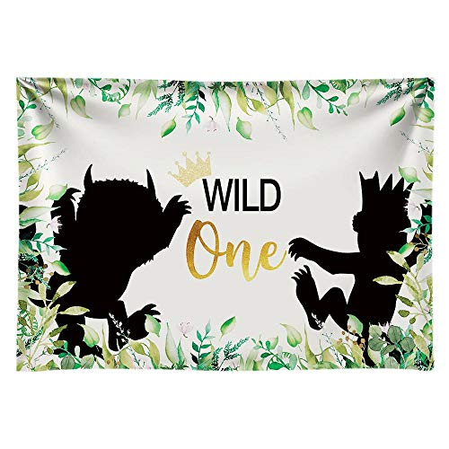 Funnytree 7x5ft Soft Fabric Wild One 1st Birthday Party Backdrop No Wrinkles Durable Animals Themed Photography Background Jungle Safari Baby Boy Photo Booth Banner Decorations (X5 Steamer Best Price)