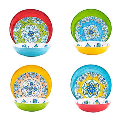 Melamine Dinnerware Set 12 Pcs Durable Dishware Colorful Plate Bowl Set Dishwasher Safe Shatter Proof Chip Resistant Not…