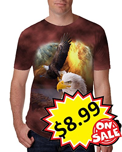 Leapparel Unisex Men and Womens 3D Print Short Sleeve Vintage Tee Shirt Top with African Eagle Design Brown - T-shirt Asian Eagle