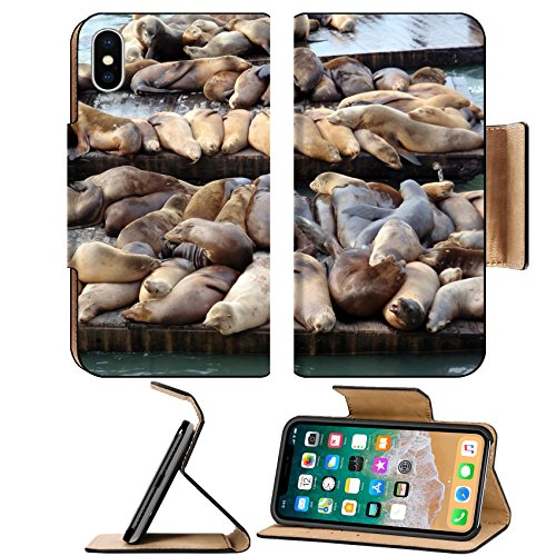 Liili Premium Apple iPhone X Flip Pu Leather Wallet Case IMAGE ID: 17096492 Large group of Sea Lions rest on rows of Piers near Pier 39 in San Francisco - Francisco San 39 California In Pier