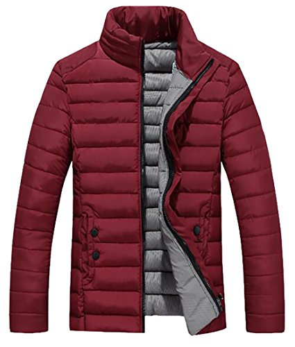 Collar today Down Jacket Lightweight Stand Wine Red UK Packable Men's TrqIT