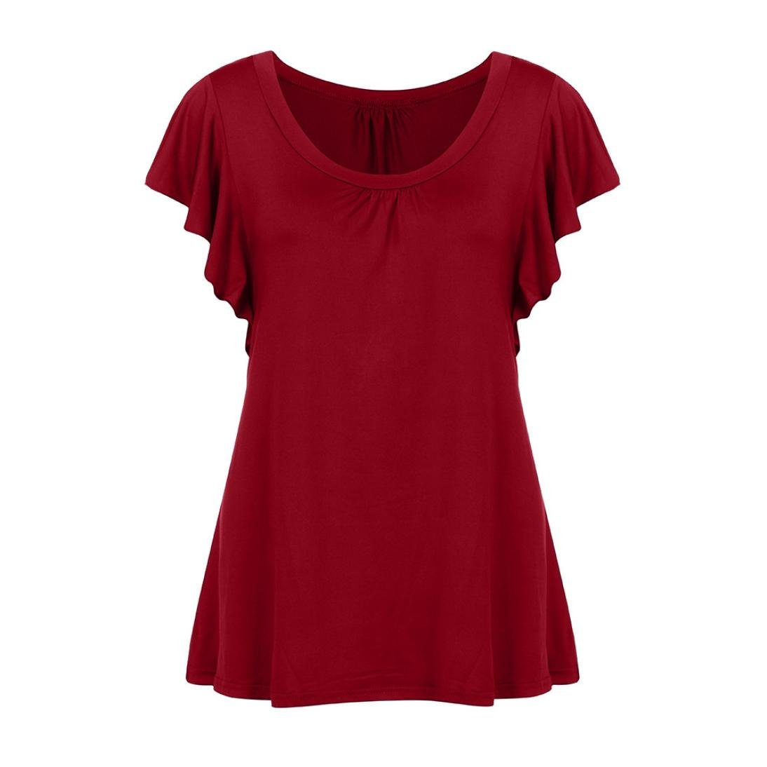 Amazon.com: T Shirts for Womens, FORUU Short Sleeve Solid Pleated Casual Flowy Tunic Top Tee: Clothing