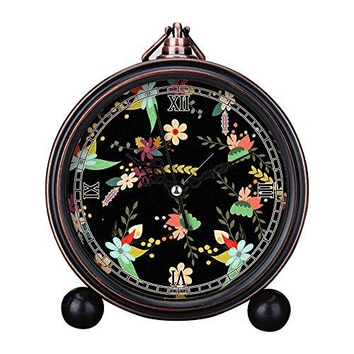 - Girlsight Art Retro Living Room Decorative Non-Ticking, Easy to Read, Quartz, Analog Large Numerals Bedside Table Desk Alarm Clock-B4189.Floral Wallpaper Vintage Pattern Floral