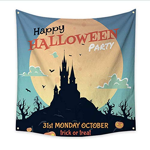 Anniutwo Landscape Tapestry Halloween Party Flyer Living Room Bedroom Dorm Decor 32W x 32L Inch for $<!--$22.90-->