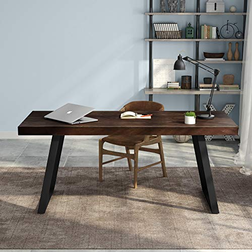 """Tribesigns 55"""" Rustic Solid Wood Computer Desk with Reclaimed Look, Vintage Industrial Home Office Desk Features Heavy-Duty Metal Base Works As Writing Desk or Study Table (Espresso)"""