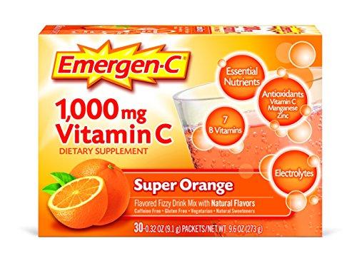 Emergen-C Dietary Supplement Drink Mix With 1000mg Vitamin C, 0.32 Ounce Packets, Caffeine Free (Super Orange Flavor, 30 Count)