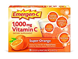 Emergen-C Dietary Supplement Drink Mix With 1000mg Vitamin C, 0.32 Ounce Packets, Caffeine Free (Super Orange Flavor, 30 Count)