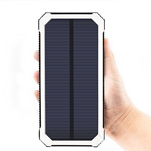 Solar Charger FKANT 15000mAh easily transportable two USB Solar Battery Charger External Battery Pack cellphone Charger electric power Bank utilizing 6LED Flashlight for iPhone iPad Samsung HTC Cellphones and far more Accessories