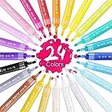 Acrylic Paint Marker pens - 24 Colors - STA Medium Point Tip Art Marker Pen Set for Glass Painting,Rock Painting,Design,Photo,Metal, Canvas,Crafts,DIY Cardmaking, Ceramic Mug Design