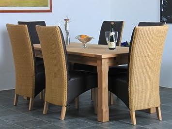 Tisch6 Esstisch Geflecht Stühle Loom Essgruppe Sitzgruppe Kiefer SMUVzpGq