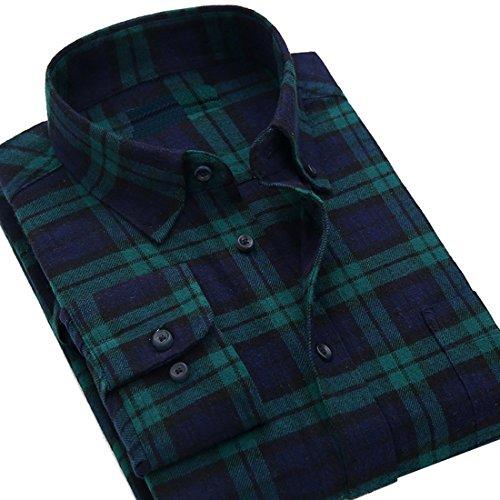 XQS Men's Plaid Flannel Shirt Black Watch Small Black Checked Flannel