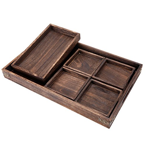 [7-Piece Rustic Paulownia Wooden Nesting Serving Trays Set with Cutout Handles] (Nesting Wood Trays)