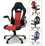 Viscologic Racecar Styled Office Chair High Back Leather EXECUTIVE Computer Home Office Desk Swivel Chair YF 2738 BRW For Sale