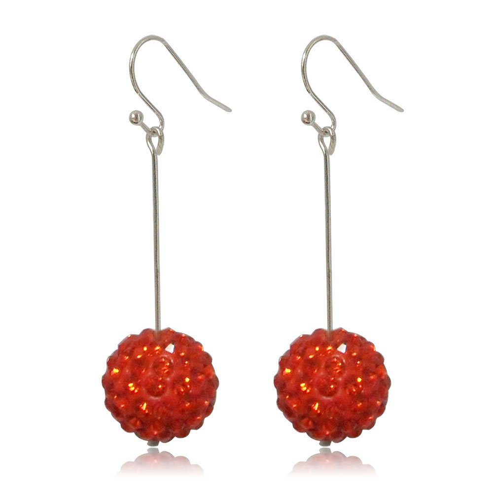 GiftJewelryShop 15MM Sterling Silver Plated Red Disco Crystal Ball Dangle Earrings
