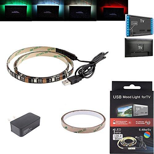 ELlight USB RGB LED Strip Light Strip 5V 35.4inch/90Cm,27LEDS Bias Mood Backlighting Lighting for HDTV,TV/PC,LCD Desktop