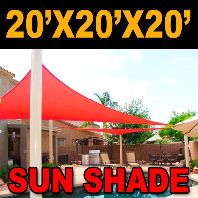 BIG 20'x20'x20′ Oversized Triangle Garden Patio Sun Sail Shade 20 ft , Color Red, Outdoor Stuffs