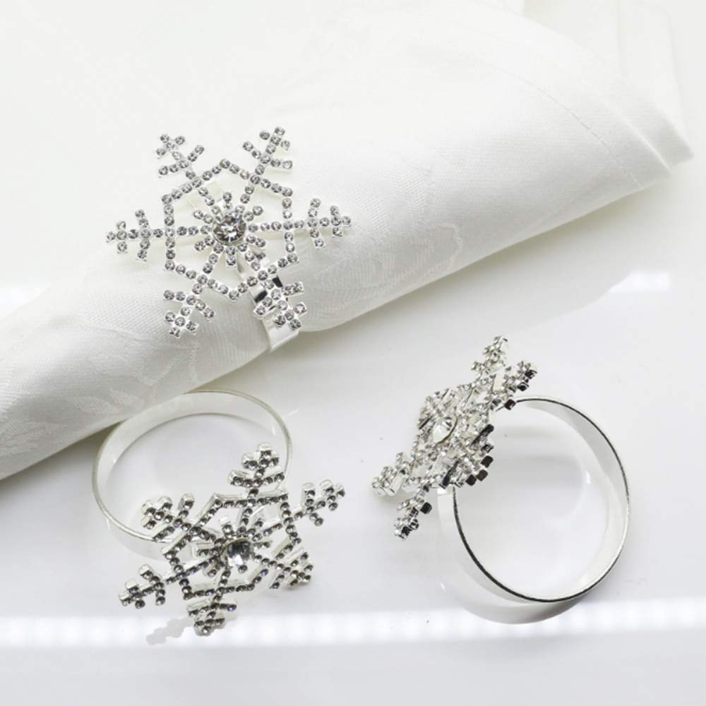 Culturemart Snowflake Alloy Napkin Ring Wedding Party Banquet Dinner Napkin Ring Christmas Decoration Supplies