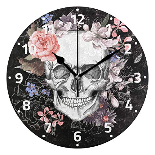 Wamika Sugar Skull Mexican Day of Dead Skeleton Colorful Clock Non Ticking Silent, Rose Flower Leaf Cactus Cross Heart Poppy Clock Desk for Living Room Kitchen Bedroom Home Decor Decoration