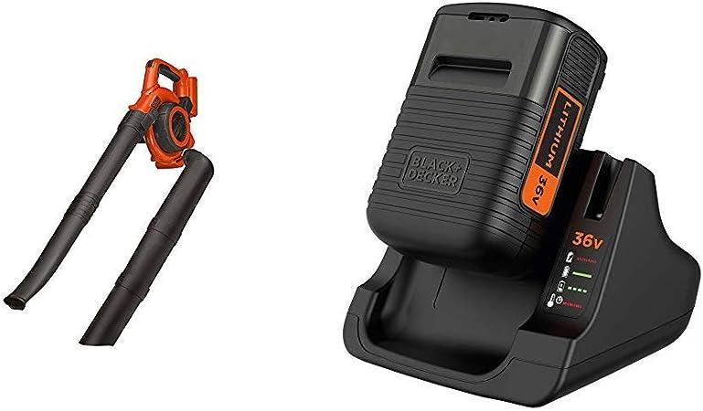 Black+Decker - Soplador-aspirador-triturador 36V + BLACK+DECKER BDC2A36-QW - Pack batería de litio 36V 2Ah y cargador: Amazon.es: Bricolaje y herramientas
