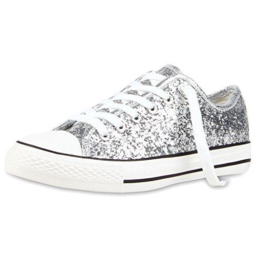 Trendige Unisex Sneakers Low-Cut Modell Basic Freizeit Schuhe Viele Farben Gr. 36-45 Silber