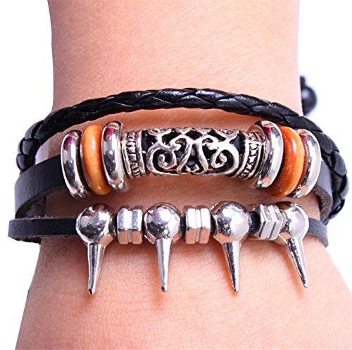 Point Beads Floral Metal Leather Colorful Black Weave Bracelet Strands Bracelet Suede Rope Bracelet Gift