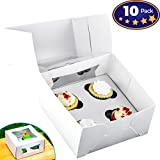 Pro-Quality Bakery Boxes for 4 Cupcakes with Display Window & Cupcake Inserts 10 Pack. Each USA Made, Bright White Box Showcases Your Cup Cakes. Easily Customized Carrier for Bake Sales!